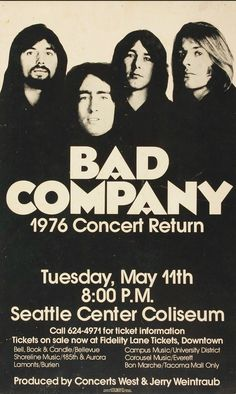 Bad Company Concert Poster