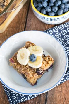 Blueberry Banana Baked Oatmeal is wonderful with a little milk and honey drizzled on top. Sweet and comforting.