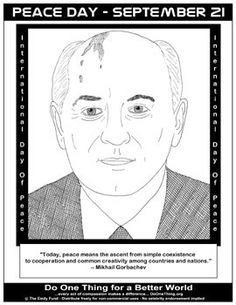 mikhail gorbachev coloring page from peace day calendar
