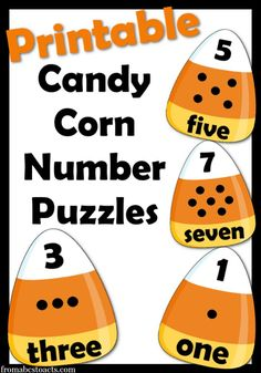 These are SO easy to use!!  Just print and cut into 3 pieces!  These printable candy corn number puzzles are perfect for preschoolers and kindergarteners that are learning their numbers!