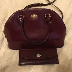 Coach Cora Domed Satchel with matching wallet Burgundy with Gold Accent Crossgrain Leather 12.5 L x 9 H x 5.5 W. Only used for a brief time in almost perfect condition Coach Bags Shoulder Bags