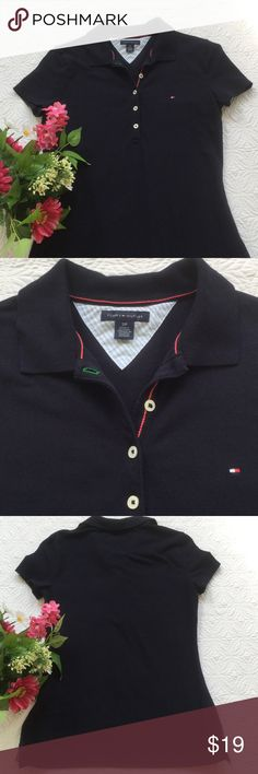 Tommy Hilfiger navy polo shirt This polo shirt by Tommy Hilfiger is like new! A deep navy color and 94% cotton and 6% elastane. Size S. Tommy Hilfiger Tops