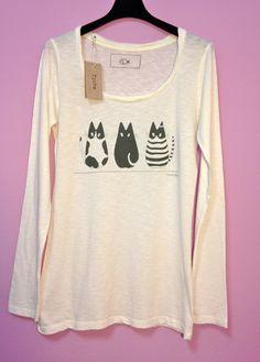 T-shirt donna regular fit stampa 3 gatti