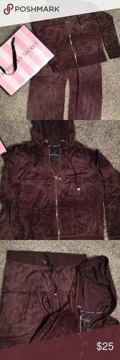 ON DALE Victoria's Secret Cotton Pants and Hoodie Very Comfy Victoria's Secret Cotton Velour Pants and Hoodie size Medium in chocolate brown. Pants are elastic waist. Hoodie is a full zip. Victoria's Secret Other