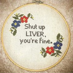 Funny and crass cross stitch on a 7 inch hoop. Embroidery floss on 14 count Aida fabric. Approx 6 x 6 inch square finished area. Finished in hoop with a felt back. Custom orders welcome