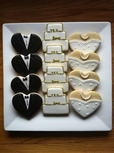 cute idea for a shower - these are just heart-shaped cookies!