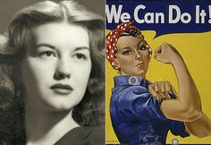 """Did you know that the real """"Rosie the Riveter"""" was from Michigan? Geraldine Doyle was born in Inkster, MI on July 31, 1924. Her name then Geraldine Hoff, she was a high school graduate, living near Ann Arbor during the summer of 1942. She decided she would support the war effort by taking a factory job at American Broach and Machine Co. in Ann Arbor, where she operated a metal-stamping press."""