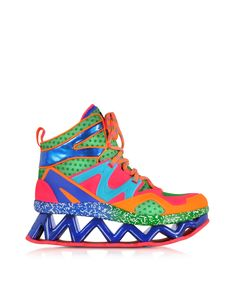 Marc by Marc Jacobs Pink Multicolor Fabric Perforated and Eco-Leather Ninja Wedge Sneaker 39 (9 US | 6 UK | 39 EU) at FORZIERI