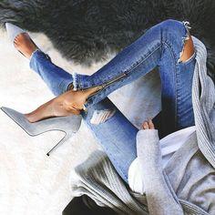 Zipper detail + heels.
