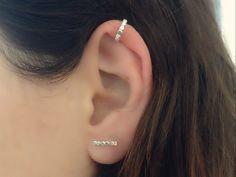 Ear Cuff Earrings Set Silver Cuff Earring Stud Bar | Etsy Sterling Silver Earring Sets, Silver Cuff, Cuff Earrings, Unique Earrings, Gold Hoop Earrings, Diamond Earrings, Minimalist Earrings, Trendy Jewelry, Gold Filled Jewelry