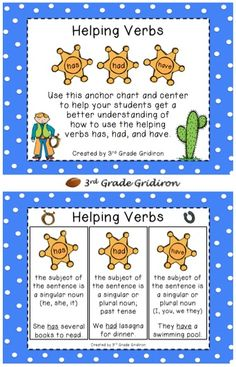3rd Grade Gridiron: Another Verb Freebie!