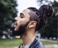 35 Best Dreadlock Styles For Men + Cool Dreads Hairstyles Guide) Mens Dreadlock Styles, Dreads Styles, Curly Hair Styles, Natural Hair Styles, Dreadlock Hairstyles For Men, Black Men Hairstyles, Haircuts For Men, Hipster Haircuts, Bun Hairstyles