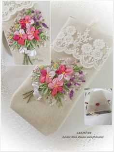 Wonderful Ribbon Embroidery Flowers by Hand Ideas. Enchanting Ribbon Embroidery Flowers by Hand Ideas. Embroidery Purse, Ribbon Embroidery Tutorial, Floral Embroidery Patterns, Learn Embroidery, Hand Embroidery Stitches, Silk Ribbon Embroidery, Embroidery Kits, Ribbon Art, Ribbon Crafts