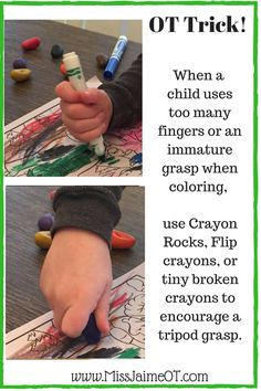 Change your child's grasp- do they use too many fingers? Use smaller crayons and follow these 3 rules to faciliate a tripod grasp