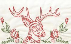 Redwork Reindeer by kittykill, via Flickr