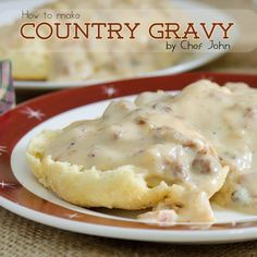 How to Make Country Gravy Recipe and Video - Comforting, savory country milk gravy thickened with flour and flavored with sausage is just the thing to put on fried chicken, country-fried steak, and biscuits. Homemade White Gravy, White Cream Gravy Recipe, White Sausage Gravy Recipe, Southern White Gravy Recipe, Easy Gravy Recipe, Homemade Country Gravy Recipe, Recipe Box, Recipe Ideas, Vinaigrette