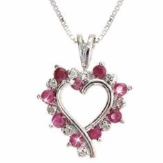 Sterling Silver Genuine Diamond Accent and Genuine Ruby open Heart Pendant (Jewelry)  http://www.geekzu.com/pin.php?p=B000J4GOL6