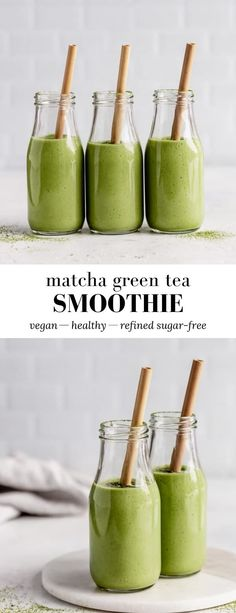 This Matcha Green Tea Smoothie recipe is an energy-boosting smoothie made with fruit, matcha and hemp seeds for some added protein! #matcha #vegan #glutenfree #smoothierecipe