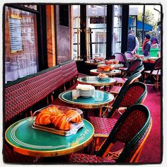 """Few spots say Paris like Cafe de Flore.""  A classic French cafe recommended by Patricia Wells' ""The Food Lover's Guide To Paris.""  Open: Daily 7a-2a.  Metro: Saint-Germain-des-Pres."