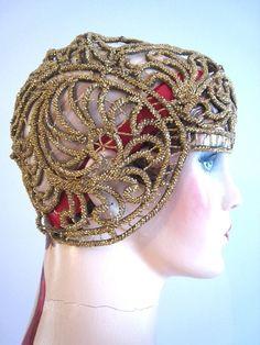 Art Deco 20s Flapper Cloche Juliette Cap Gold Threaded Cording