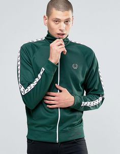 cd1d920abf8d Fred Perry Track Jacket With Taped Sleeves In Ivy from Asos Fred Perry  Jacket, English