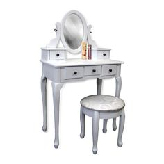 2-Piece Set: Wooden Vanity with Adjustable Mirror & Plush Stool