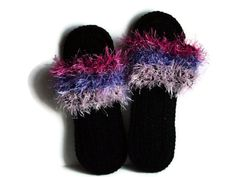 Black Crochet Slippers Flip Flops With Pink and Purple Striped Fur Womens Footwear Dance Slippers Indoor Comfortable Shoes House Slippers. $30.00, via Etsy.