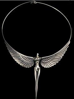Necklace | Paul Wunderlich. 'Nike ~ La Victorie'. Solid silver. ca