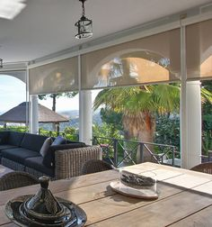 Hampton Bay Outdoor Solar Shades are great for decks, patios and sunrooms to block sun and glare and help save on heating and air conditioning bills. Blinds Design, Home, Porch Shades, Outdoor Space, Outdoor Living, Outdoor Blinds, Patio Blinds, Outdoor Kitchen, Solar Shades