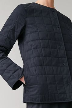 QUILTED COTTON JACKET - navy - Jackets - COS Navy Jacket, Cotton Pads, Cotton Jacket, Street Wear, Women Wear, Winter Jackets, Man Shop, Long Sleeve, Sleeves