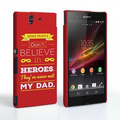 Caseflex Dad Heroes Quote Sony Xperia Z Case - Red | Mobile Madhouse