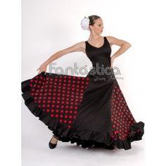 ed261fa419 Vestido de Flamenca   Sevillana para Niña y Mujer Color Negro y Rojo con  Lunares II