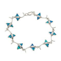 "Sterling Silver 7"" Created Blue Opal Manta Ray Link Bracelet. Elegant Created Opal with Sterling Silver. Crafted of 925 Sterling Silver. Gift box included."