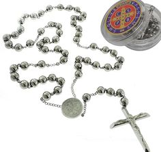 Catholic Rosary Beads Pray Necklace Stainless Steel Saint Benedict Medal-28' 6MM ,24' 6MM OR 18' 4MM *** See this valentines gift ideas.