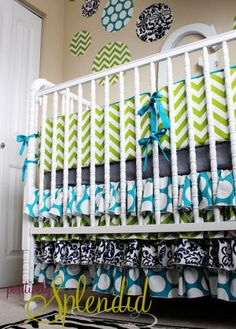 Ruffled baby crib skirt with layers and layers of ruffles made from a variety of custom fabrics