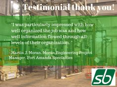 Another great testimonial of our work! #mechanical #services http://www.sbmech.net/