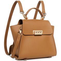 Zac Zac Posen - Eatha Iconic Convertible Backpack (8.450 UYU) ❤ liked on Polyvore featuring bags, backpacks, backpack, sac, bolsas, handbags, leather flap backpack, strap backpack, satchel handbags and top handle satchel handbags
