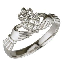 Irish Jewelry :: Irish Rings :: Claddagh Ring - 14k White Gold Diamond Claddagh -