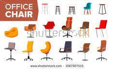 Chair Set Vector. Office Creative Modern Desk Chairs. Interior Seat Design Element. Flat Isolated Furniture Illustration