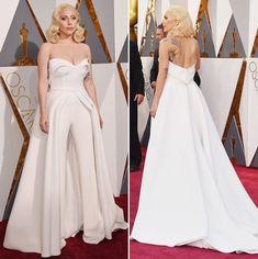 Oscar 2016 - Lady Gaga - macacão com sobressaia Brandon Maxwell #redcarpet #oscar2016 #ladygaga
