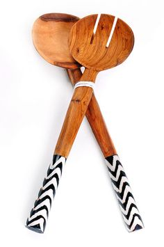 African Ethnic Small Wood Salad Servers Giraffe Zebra Leopard Rhino