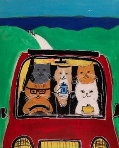 Cats in Art and Illustration: drive cat / Pepe Shimada I Love Cats, Crazy Cats, Cool Cats, Illustrations, Illustration Art, Chat Web, Photo Chat, Cat Character, Cat Drawing