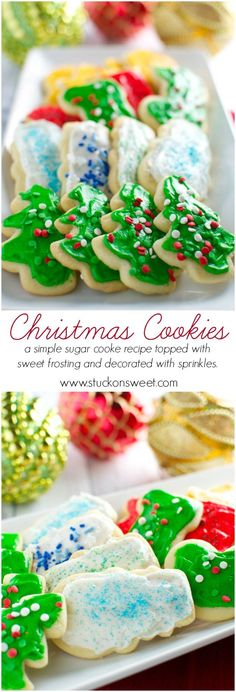 The best 20 Christmas sugar cookies recipes- Easy ideas for holiday. Christmas sugar cookie recipes that will make your holiday season merry and bright. Christmas Sugar Cookie Recipe, Sugar Cookie Recipe Easy, Easy Sugar Cookies, Easy Cookie Recipes, Holiday Cookies, Frosted Christmas Cookies, Cookie Ideas, Frosting For Christmas Cookies, Holiday Desserts