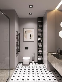 Modern Bathroom Have a nice week everyone! Today we bring you the topic: a modern bathroom. Do you know how to achieve the perfect bathroom decor? Simple Bathroom Designs, Modern Bathroom Design, Bathroom Interior Design, Modern Interior, Marble Interior, Grey Bathrooms, Beautiful Bathrooms, Small Bathroom, Bathroom Black
