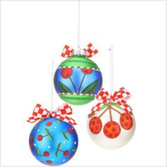 Cherry Glass Ornament - Cherry Balls Set of 3