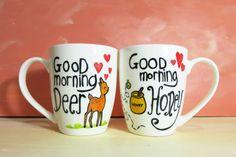 Good morning honey Good morning Deer white coffee mugs by CoralBel, $46.85