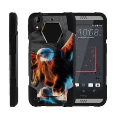 HTC Desire 530 Case, SHOCK FUSION, High Impact Hybrid Case Kickstand - Blazing Eagle