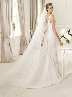 Hot Selling Gorgeous Chiffon and Lace One-Shoulder Strap Sheath Cheap Informal Wedding Dresses with Slit Skirt WD-1041