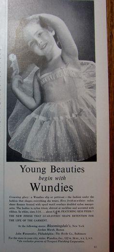 1957 WUNDIES Little Girls SLIP Petticoat Vintage LINGERIE print,Girls Dresses Ad Pretty Lingerie, Vintage Lingerie, Girls Slip, Kids And Parenting, Little Girls, Kids Fashion, The Past, Girls Dresses, Charmed