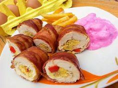Egy finom Baconbe göngyölt csirkemell céklasalátával ebédre vagy vacsorára? Baconbe göngyölt csirkemell céklasalátával Receptek a Mindmegette.hu Recept gyűjteményében! Sushi, Bacon, Menu, Lunch, Ethnic Recipes, Food, Menu Board Design, Eat Lunch, Essen
